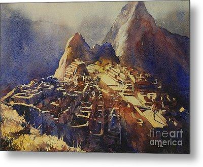 Watercolor Painting Machu Picchu Peru Metal Print