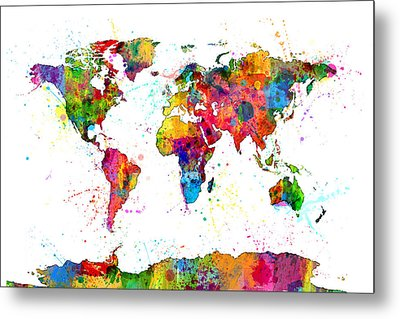 Watercolor Political Map Of The World Metal Print by Michael Tompsett