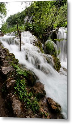 Metal Print featuring the photograph Waterfall In Plitvice by Laura Melis