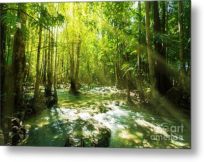 Waterfall In Rainforest Metal Print by Atiketta Sangasaeng
