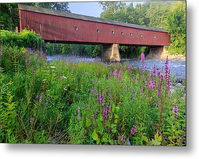 West Cornwall Covered Bridge Metal Print by Bill Wakeley