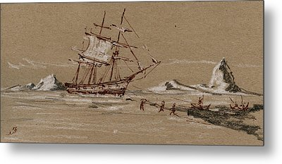 Whaler Ship Metal Print by Juan  Bosco