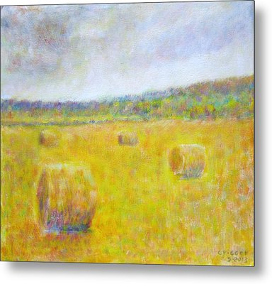 Wheat Bales At Harvest Metal Print
