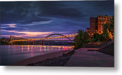 Metal Print featuring the photograph Wheeling Suspension Bridge  by Mary Almond
