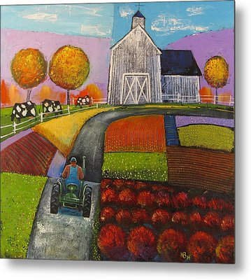 White Barn Metal Print