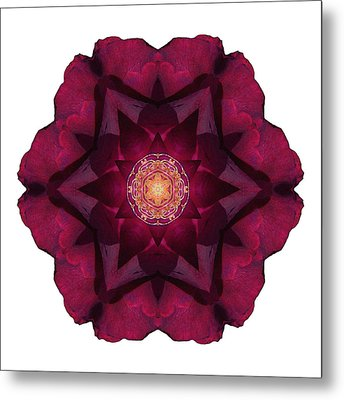Beach Rose I Flower Mandala White Metal Print