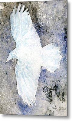 White Raven Metal Print