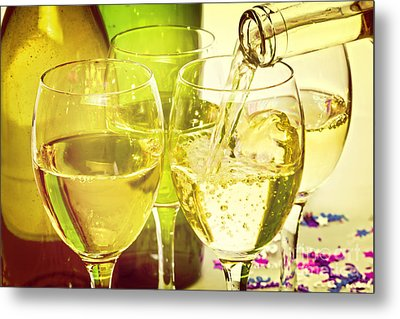White Wine Pouring Into Glasses Metal Print by Colin and Linda McKie