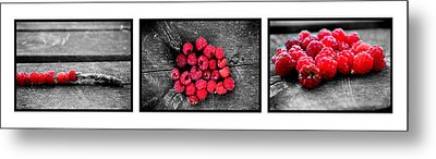 Wild Strawberries On Straw Metal Print by Tommytechno Sweden