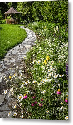 Wildflower Garden And Path To Gazebo Metal Print by Elena Elisseeva