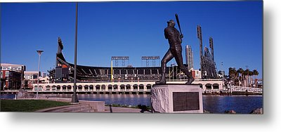 Willie Mays Statue In Front Metal Print by Panoramic Images