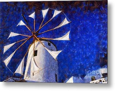 Windmill In Oia Town Metal Print