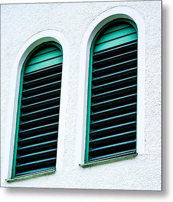 Window In Green Wood Metal Print by Tommytechno Sweden