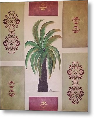Windy Day Palm Metal Print by Cindy Micklos