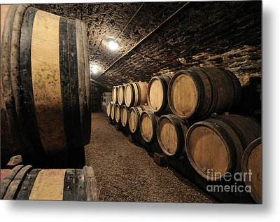 Wine Barrels In A Cellar. Cote D'or. Burgundy. France. Europe Metal Print