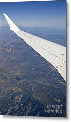 Wing Of Flying Airplane Over French Alps Metal Print