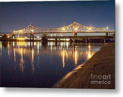 Winona Bridge At Sunset Metal Print by Kari Yearous