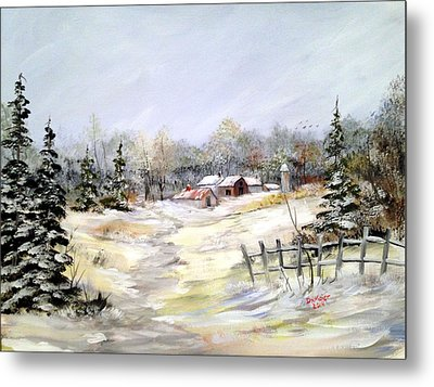 Winter At The Farm Metal Print