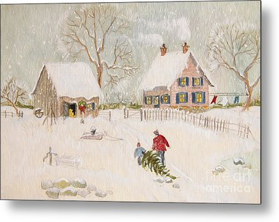 Winter Scene Of A Farm With People/ Digitally Altered Metal Print by Sandra Cunningham