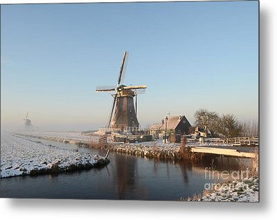 Winter Windmill Landscape In Holland Metal Print by IPics Photography