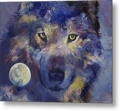Grey Wolf Moon Metal Print