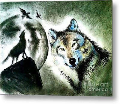 Wolf Metal Print by Rose Wang