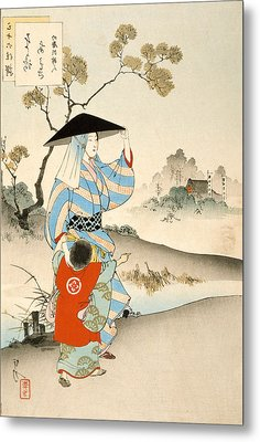 Woman And Child Metal Print by Ogata Gekko