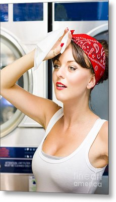Woman Exhausted From Cleaning Metal Print by Jorgo Photography - Wall Art Gallery
