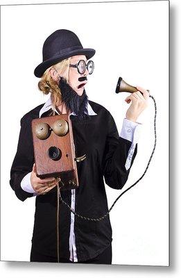 Woman Holding Antique Telephone Metal Print