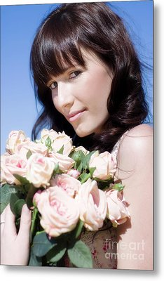 Woman In A Rose Romance Metal Print