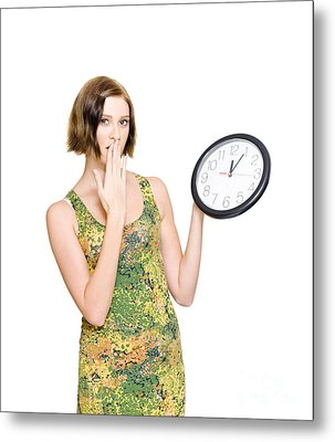 Woman Late For The Time Schedule Deadline Metal Print