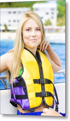 Woman On Sightseeing Boat Tour Metal Print