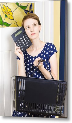 Woman Planning Shopping Budget With Calculator Metal Print