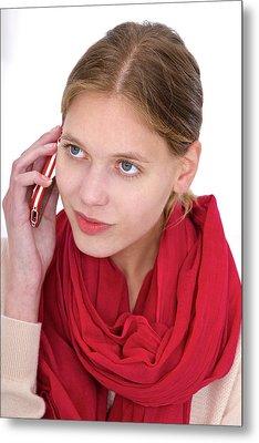 Woman Using Mobile Phone Metal Print