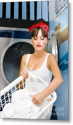 Woman Washing Clothes Metal Print by Jorgo Photography - Wall Art Gallery
