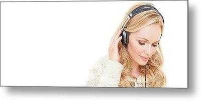 Woman Wearing Headphones Metal Print