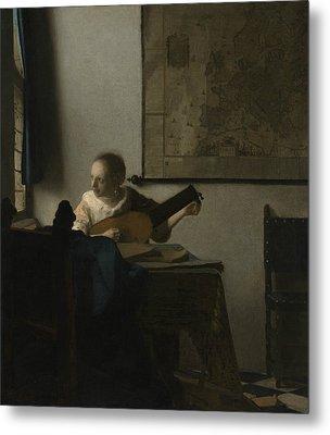 Woman With A Lute Metal Print by Johannes Vermeer