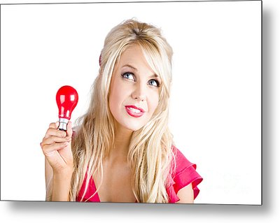 Woman With Idea Metal Print by Jorgo Photography - Wall Art Gallery