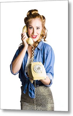 Woman With Retro Telephone Metal Print by Jorgo Photography - Wall Art Gallery