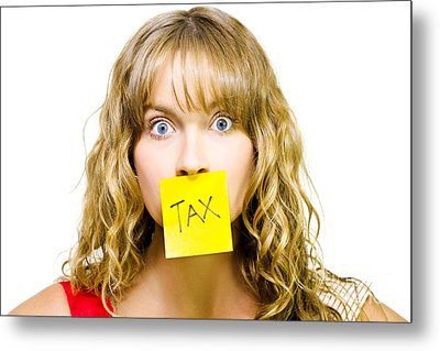 Woman With Tax Note Over Mouth Metal Print