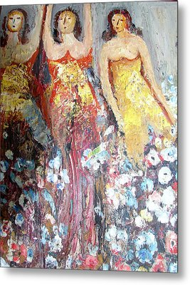 Women With Flowers Metal Print by Anand Swaroop Manchiraju