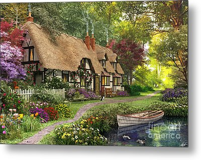 Woodland Walk Cottage Metal Print by Dominic Davison