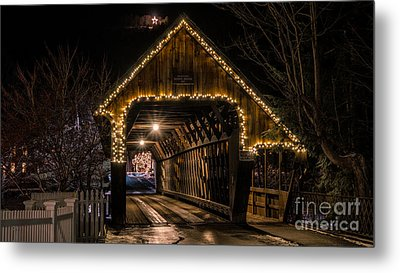 Woodstock Middle Bridge. Metal Print by New England Photography
