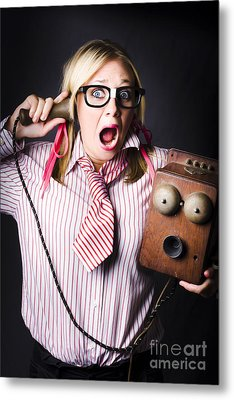 Worker In Shock During Bad News Communication Metal Print