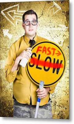 Worker Showing Sign To Fast Track Productivity Metal Print by Jorgo Photography - Wall Art Gallery