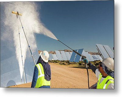 Workers Washing The Heliostats Metal Print