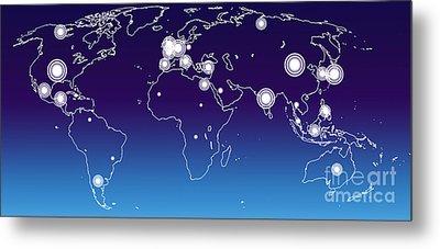 World Economies Map Metal Print by Atiketta Sangasaeng