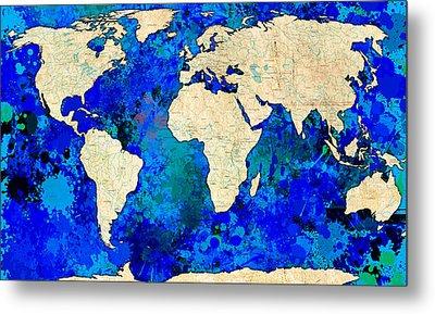 World Map Blue Metal Print by Gary Grayson