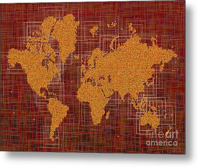 World Map Rettangoli In Orange Red And Brown Metal Print by Eleven Corners