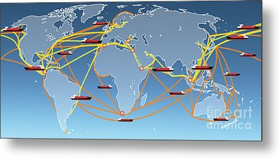 World Shipping Routes Map Metal Print by Atiketta Sangasaeng